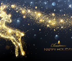 Christmas gloden background with reindeer vector 01
