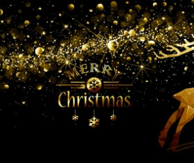 Christmas gloden background with reindeer vector 03