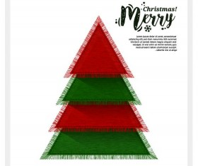 Christmas greeting card with triangle Xmas tree vector 02