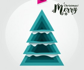 Christmas greeting card with triangle Xmas tree vector 03