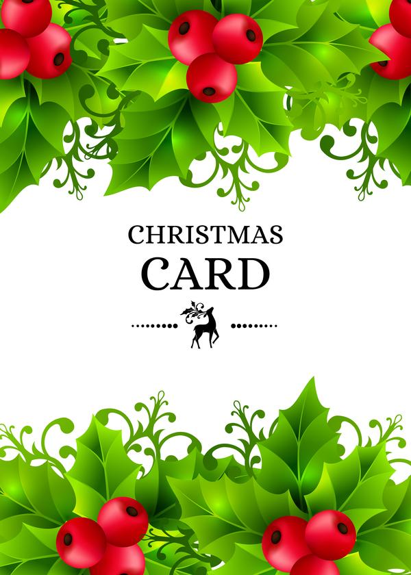 Christmas holly art background vector 02