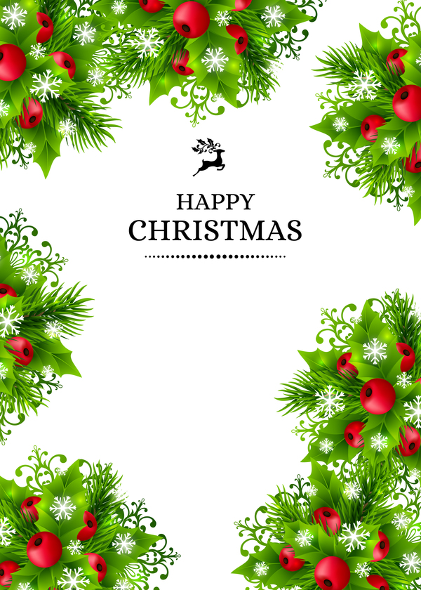 Christmas holly art background vector 05