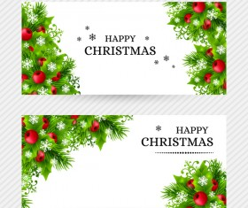 Christmas holly banners vector set