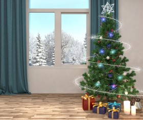 Christmas tree and winter snow scene outside HD picture
