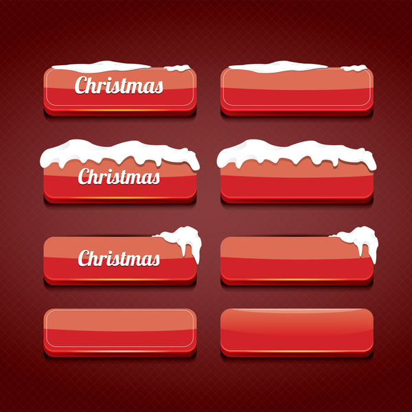 Christmas web buttons red vector set 02