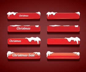 Christmas web buttons red vector set 03