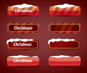 Christmas web buttons red vector set 05