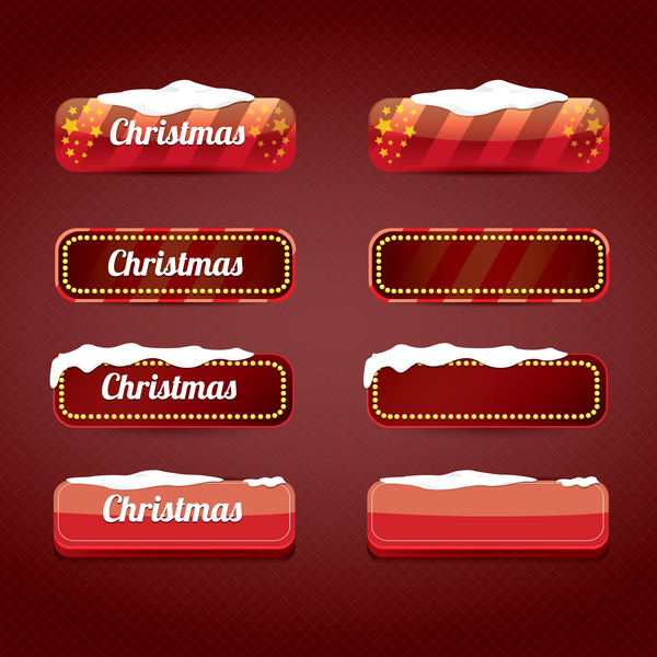 christmas web buttons red vector set 05 - Christmas Buttons