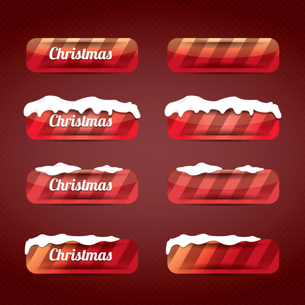 Christmas web buttons red vector set 06