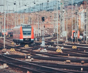 Cobweb-like rail connections with trains Stock Photo
