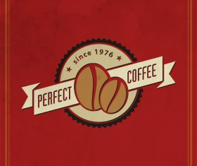 Coffee logos with red background vector 01