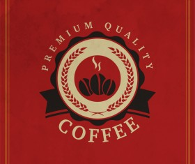 Coffee logos with red background vector 02