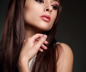 Color makeup young beautiful woman dark red hair 02