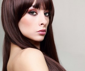 Color makeup young beautiful woman dark red hair 03