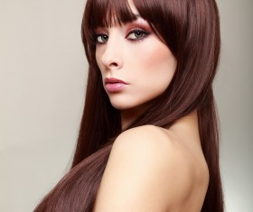 Color makeup young beautiful woman dark red hair 04