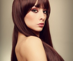 Color makeup young beautiful woman dark red hair 05