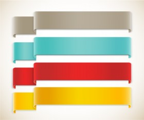 Color ribbon corners vector
