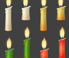Colored candle vector set