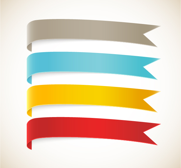 Colored ribbon bookmarks vector 01