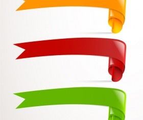 Colored ribbon bookmarks vector 02
