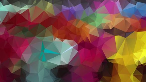 Colorful polygon geometric background shiny vector 01
