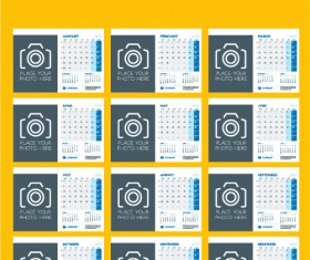 Common 2017 Wall Calendar template vector 01