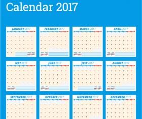Common 2017 Wall Calendar template vector 02