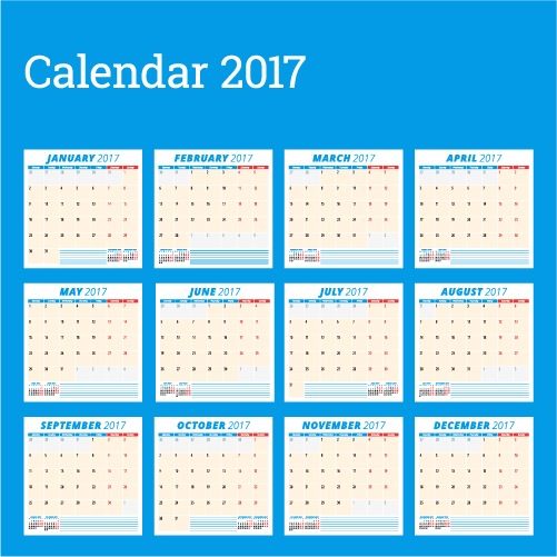 Common 2017 Wall Calendar Template Vector 02 Free Download