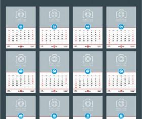 Common 2017 Wall Calendar template vector 05