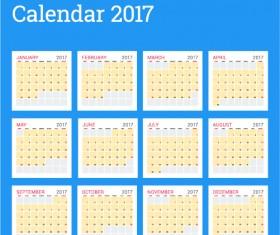 Common 2017 Wall Calendar template vector 06