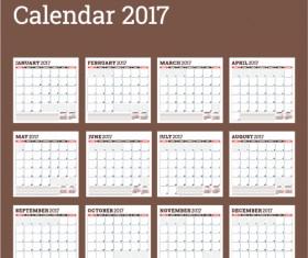 Common 2017 Wall Calendar template vector 08