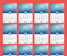 Common 2017 Wall Calendar template vector 11