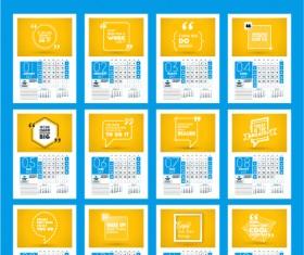 Common 2017 Wall Calendar template vector 14