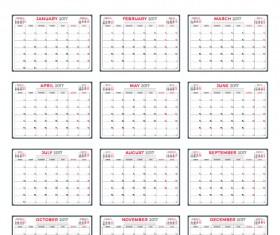 Common 2017 Wall Calendar template vector 12
