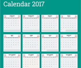 Common 2017 Wall Calendar template vector 15