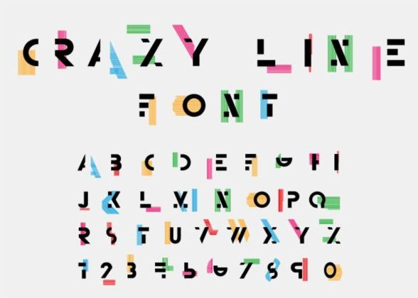 Crazy line alphabet with numbers vector