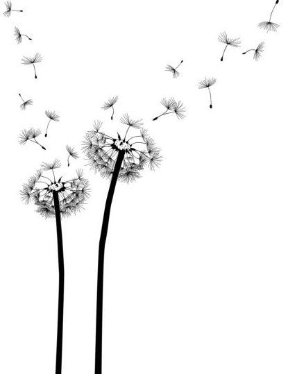 Dandelion Black Vector Illustration 01 Free Download