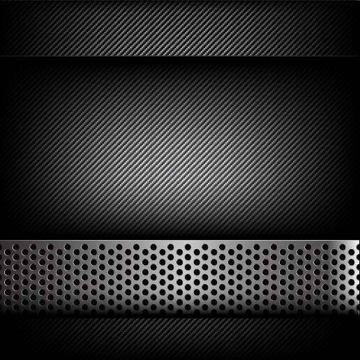 Dark and black carbon fiber with hold polished metal vector background 01