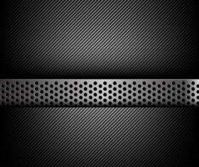 Dark and black carbon fiber with hold polished metal vector background 02