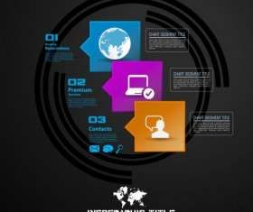 Dark chart infographic design vectors 01