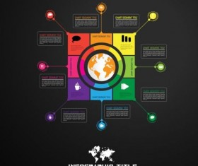 Dark chart infographic design vectors 03
