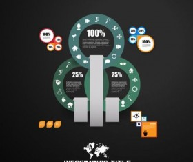 Dark chart infographic design vectors 04