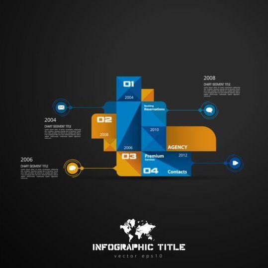 Dark chart infographic design vectors 06