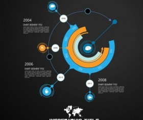 Dark chart infographic design vectors 07