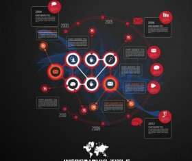 Dark chart infographic design vectors 08