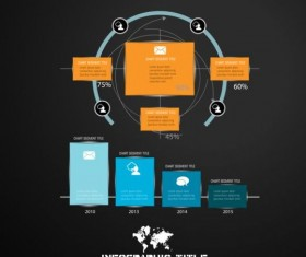 Dark chart infographic design vectors 09