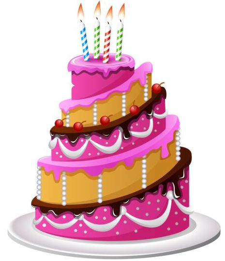 Images Of Delicious Birthday Cake : Delicious birthday cake with candle vectors 01 - Vector ...