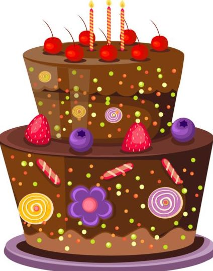 delicious birthday cake with candle vectors 02 vector