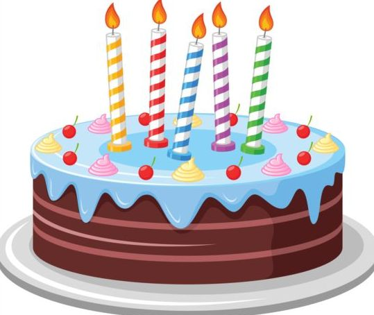 delicious birthday cake with candle vectors 03 vector