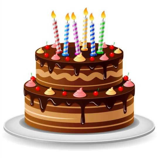 Delicious birthday cake with candle vectors 04